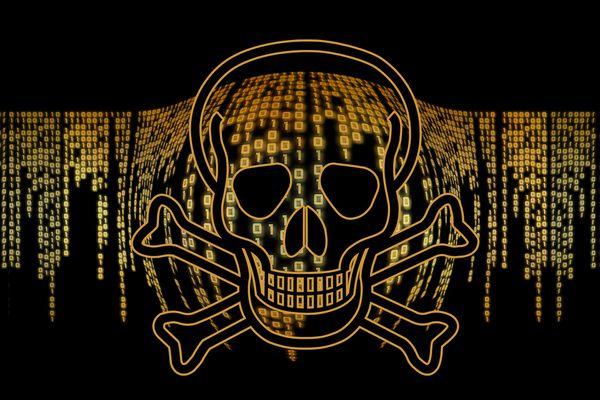 Ones and zeros behind a golden skull and crossbones.