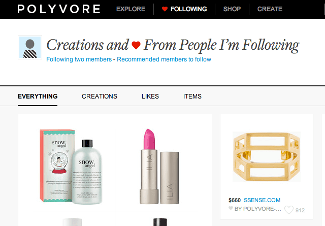 Polyvore home page