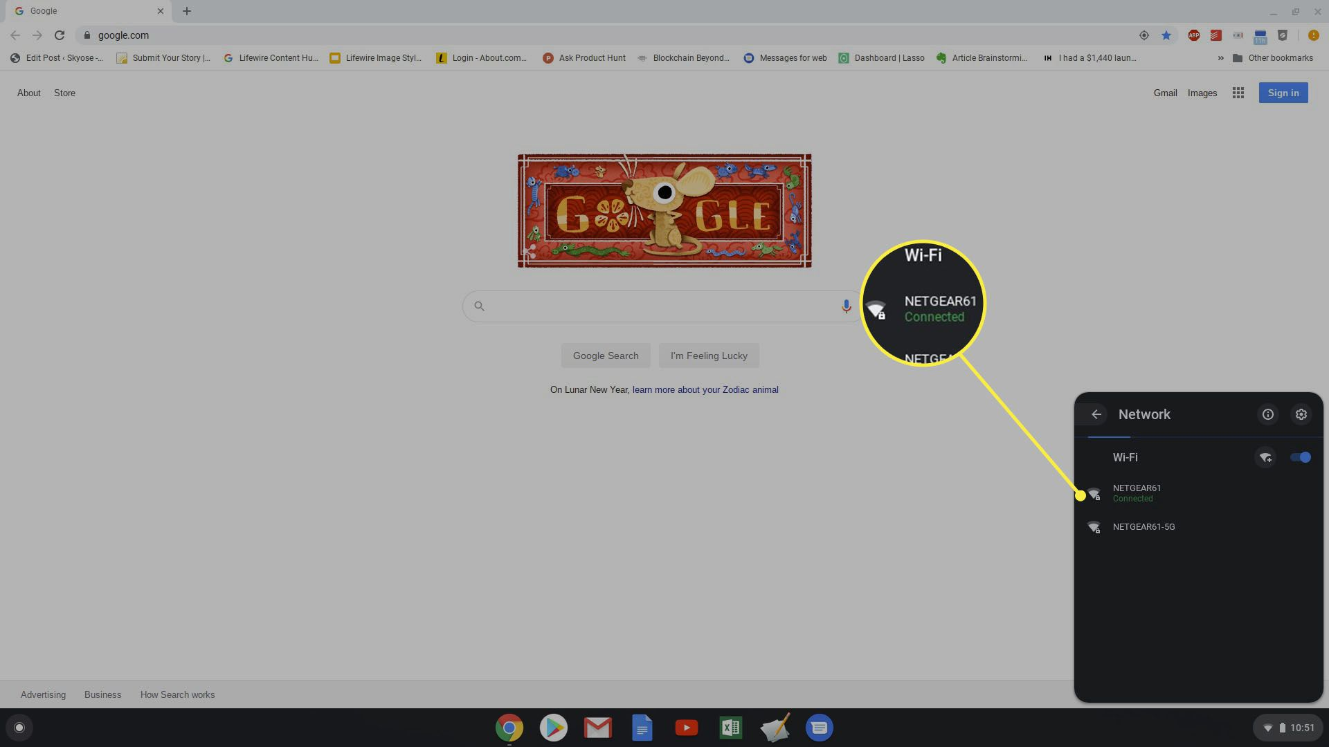 Wi-Fi network list on Chromebook