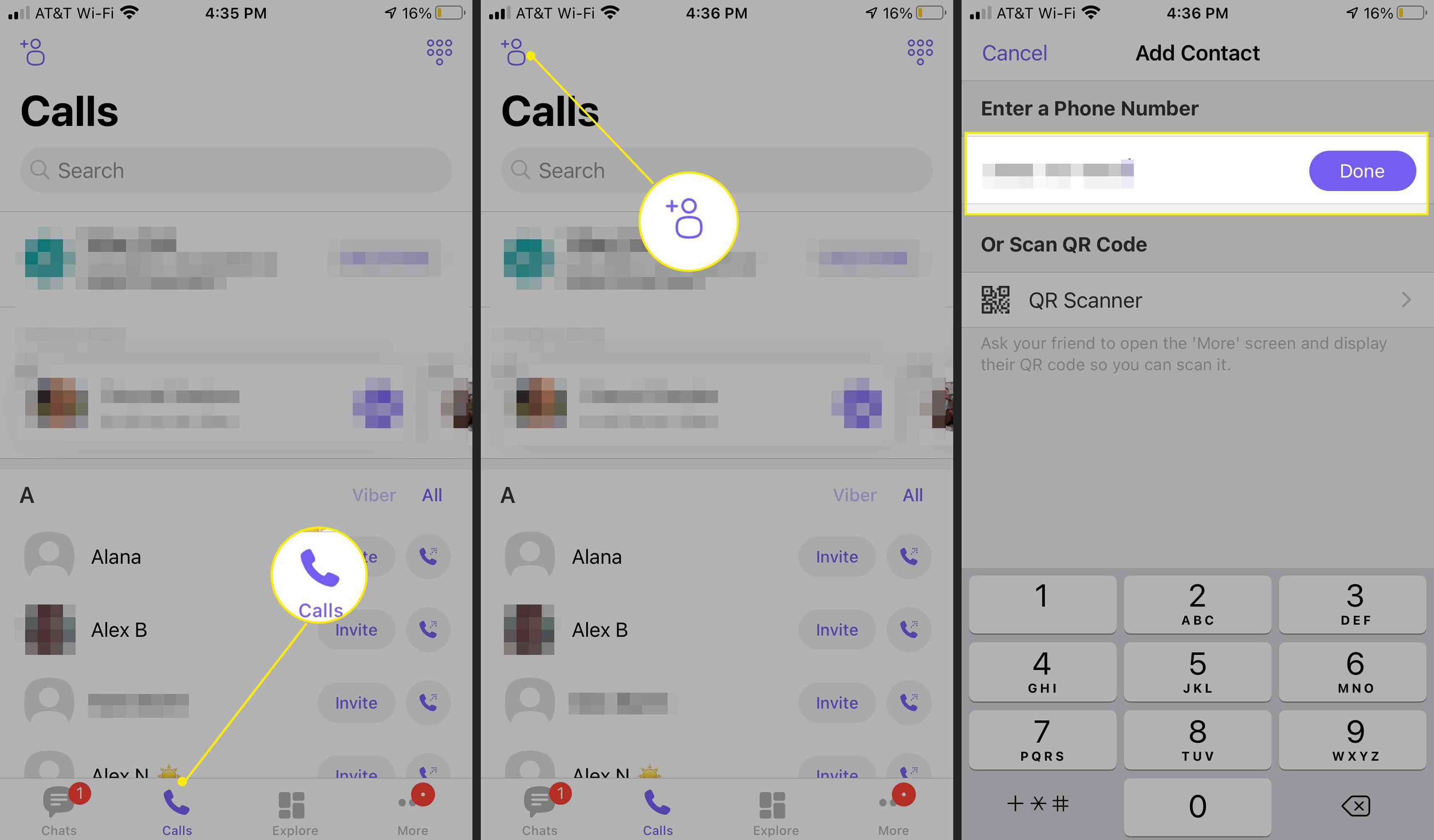 Viber app screens with