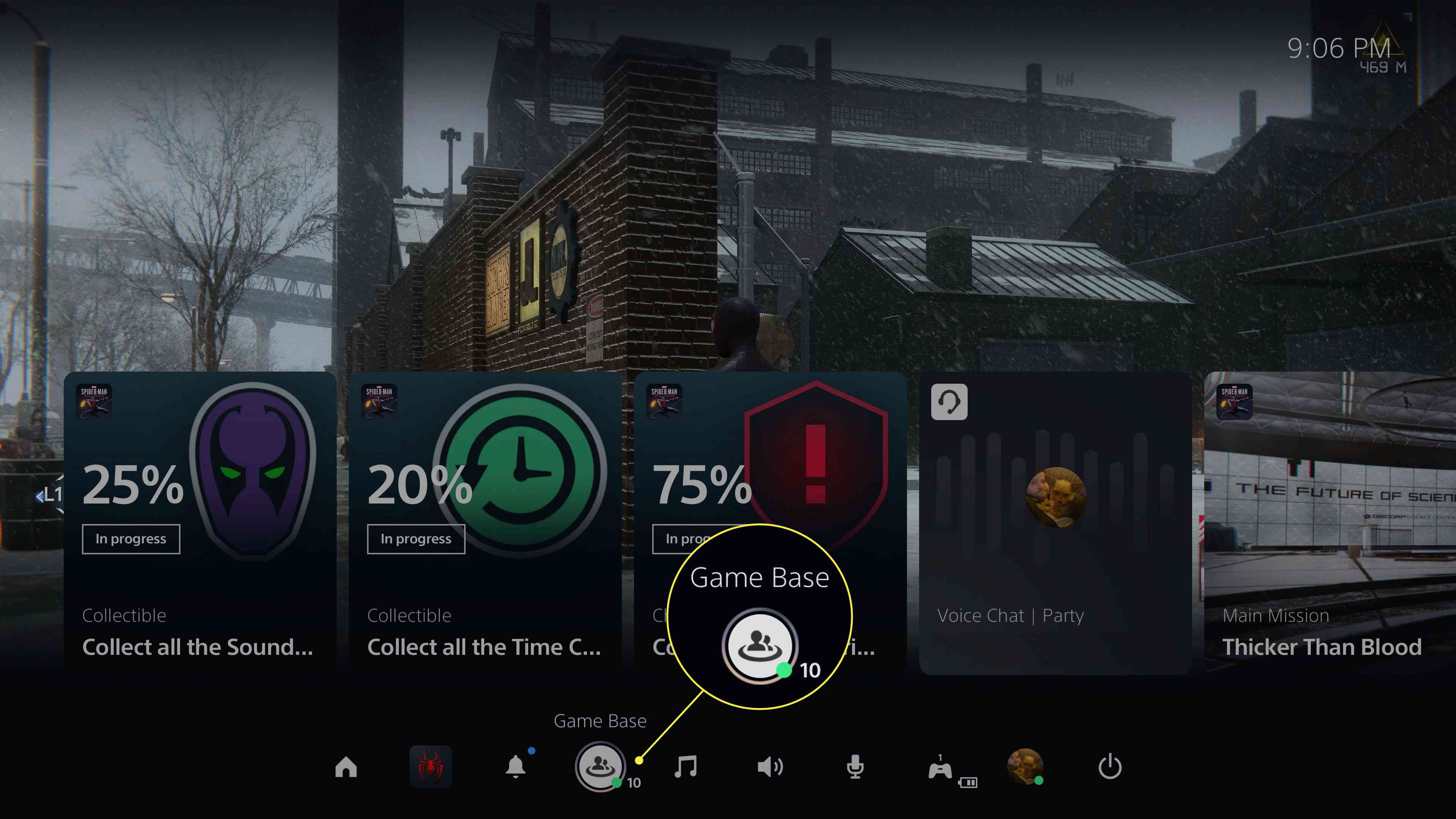 The Game Base option on PS5