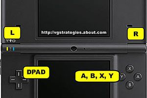 Nintendo DSi system and control layout to aid in the input of Nintendo DS and DSi cheat codes.