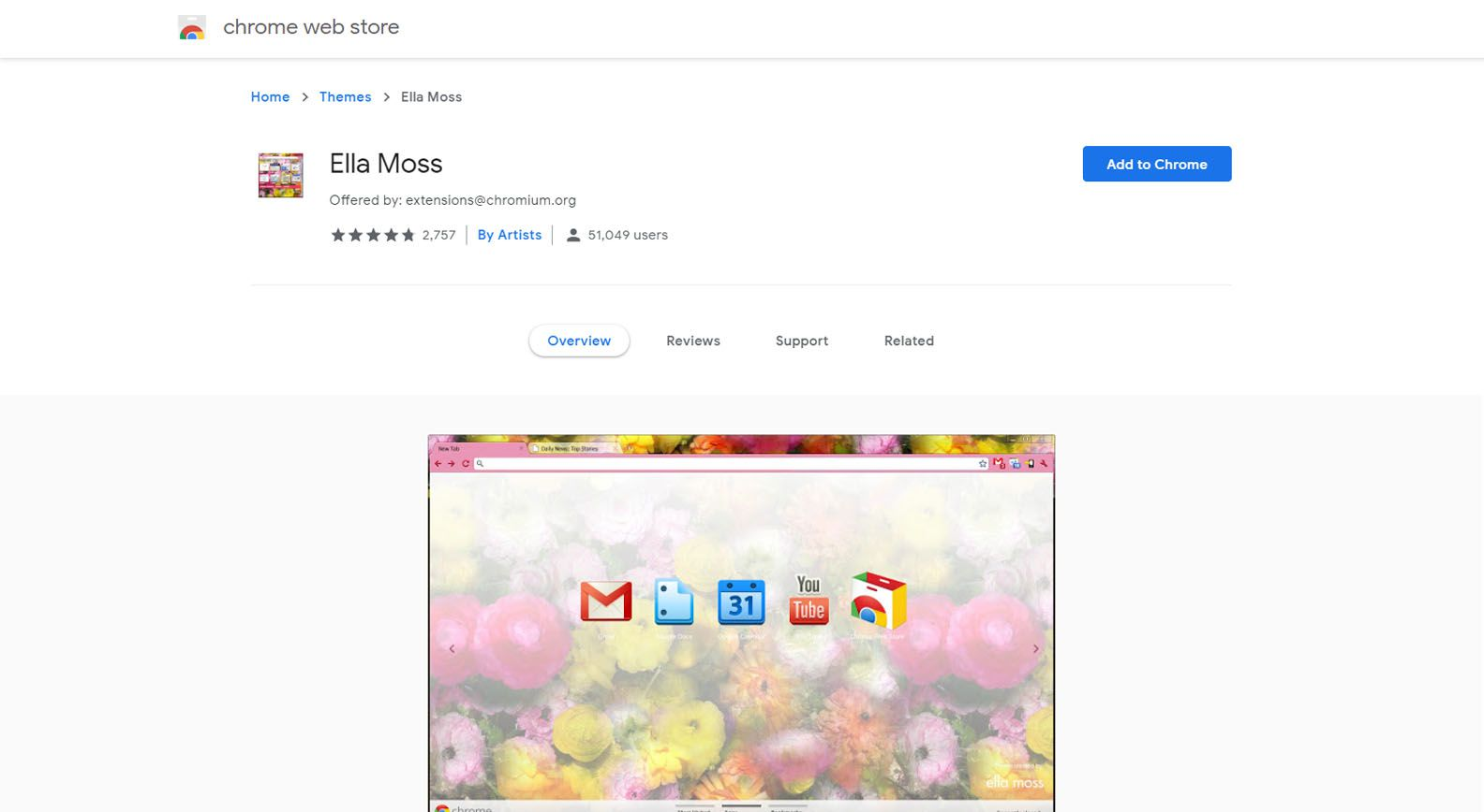 Chrome Web Store with theme selected