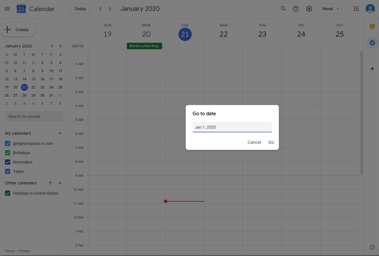 Screenshot of Google Calendar Go to Date