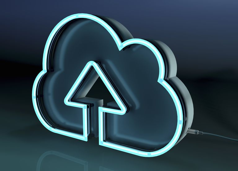 Conceptual image of a neon cloud backup