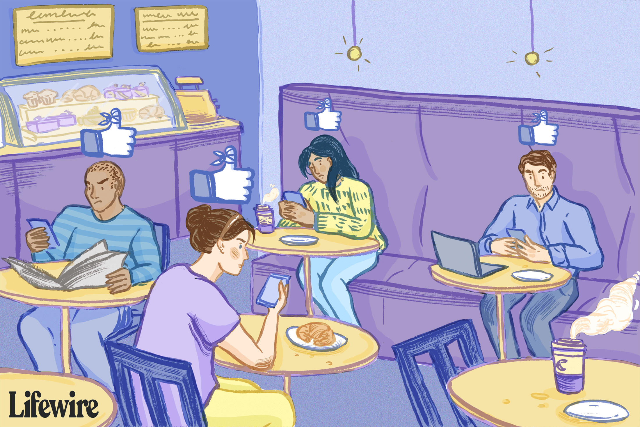 Several people in a cafe, looking puzzled at their devices with a Facebook icon floating above