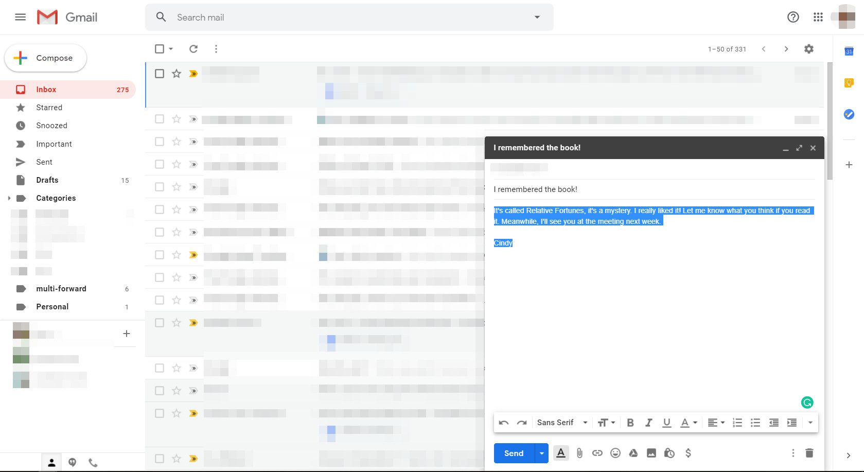 Selected text in Message composition screen in Gmail