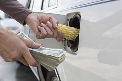 Man holding stack of money and inserting corn cob into gas tank