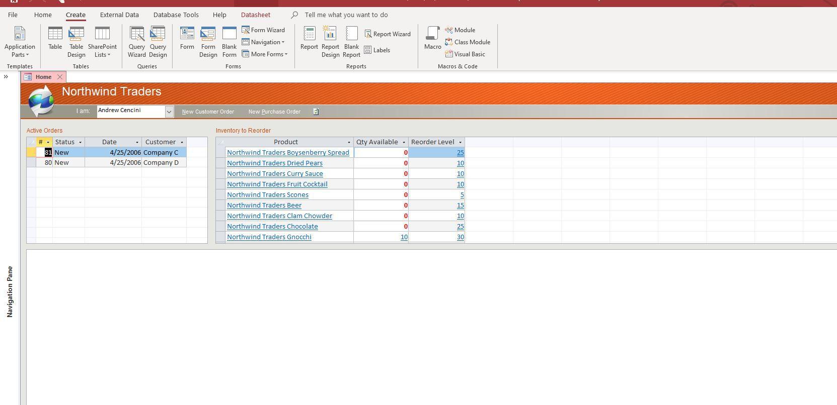 Create tab in Microsoft Access.