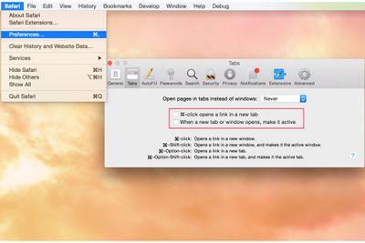 Safari Tab Preferences screenshot