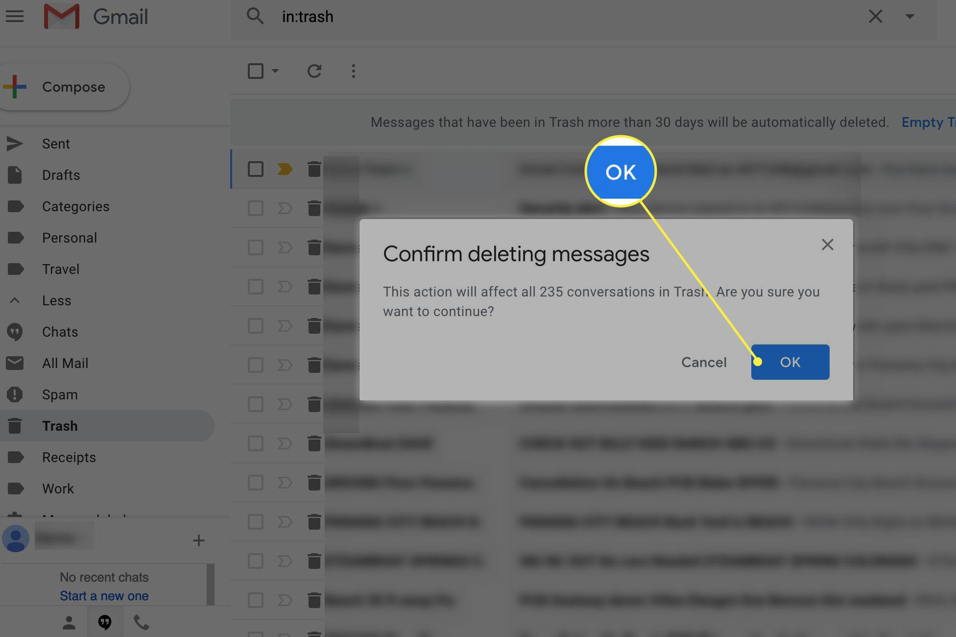Confirm message deletion in Gmail
