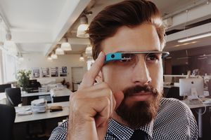 Man using bluetooth enabled glasses