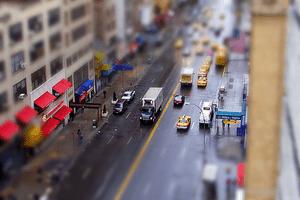 Tilt shift effect applied to a photo of a city street