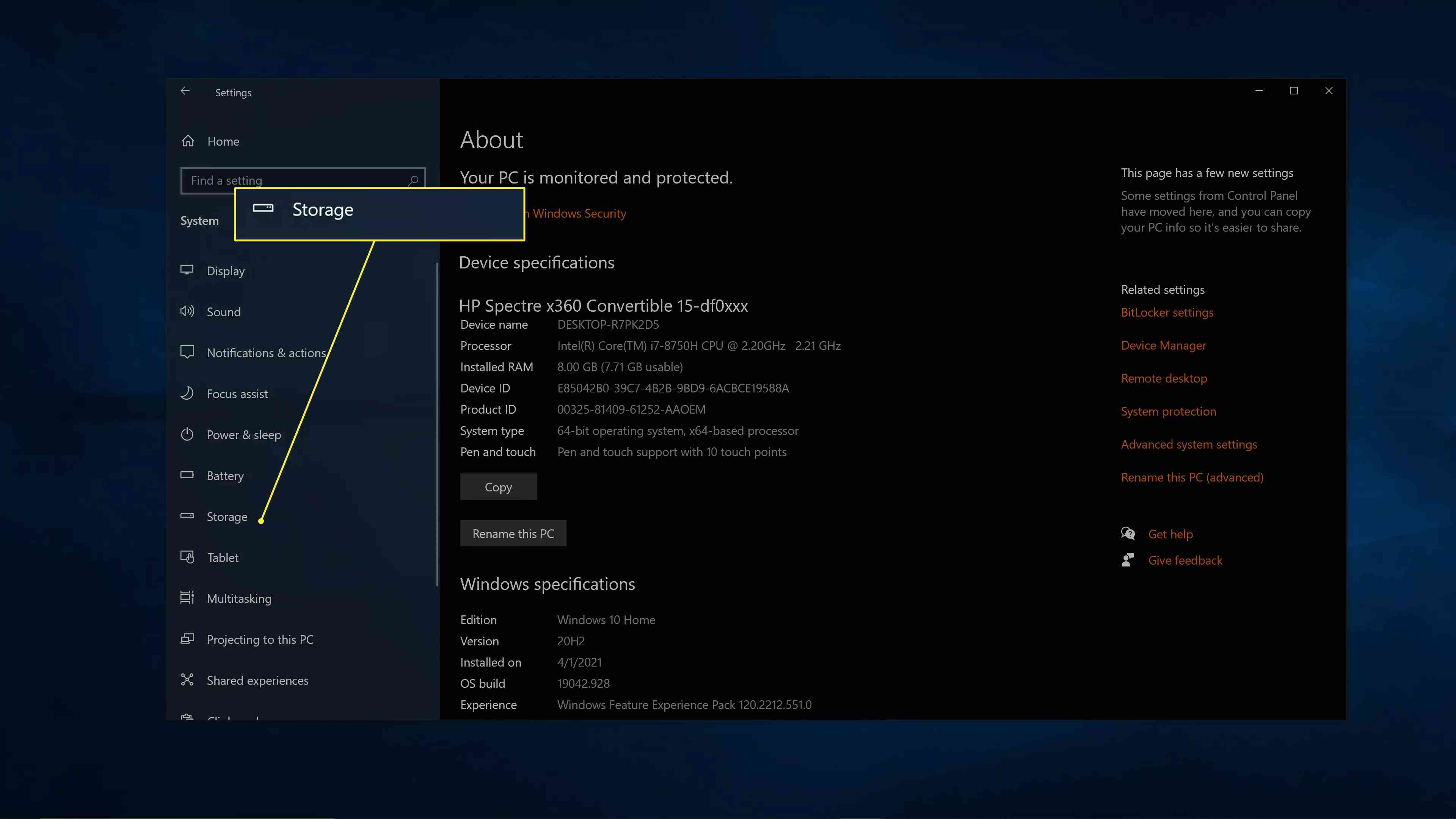 Storage highlighted in the left menu of Windows system settings.