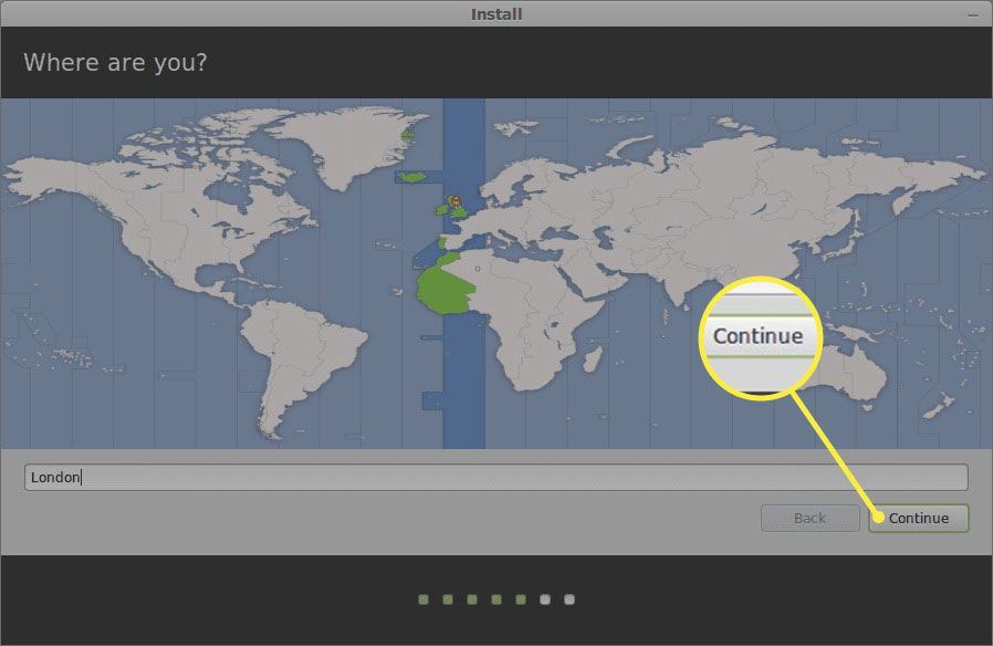 Choosing your location during Linux Mint installation