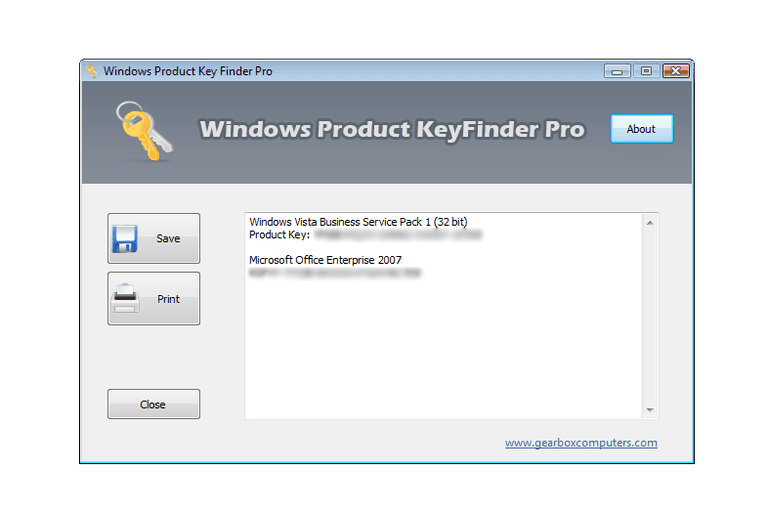 Screenshot of Windows Product Key Finder Pro v2.5 in Windows Vista