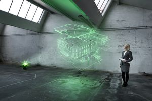 A architect looking at a holographic rendering of a building.