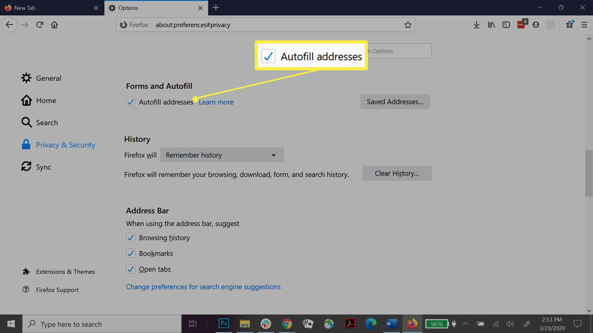 Firefox enable saved addresses.