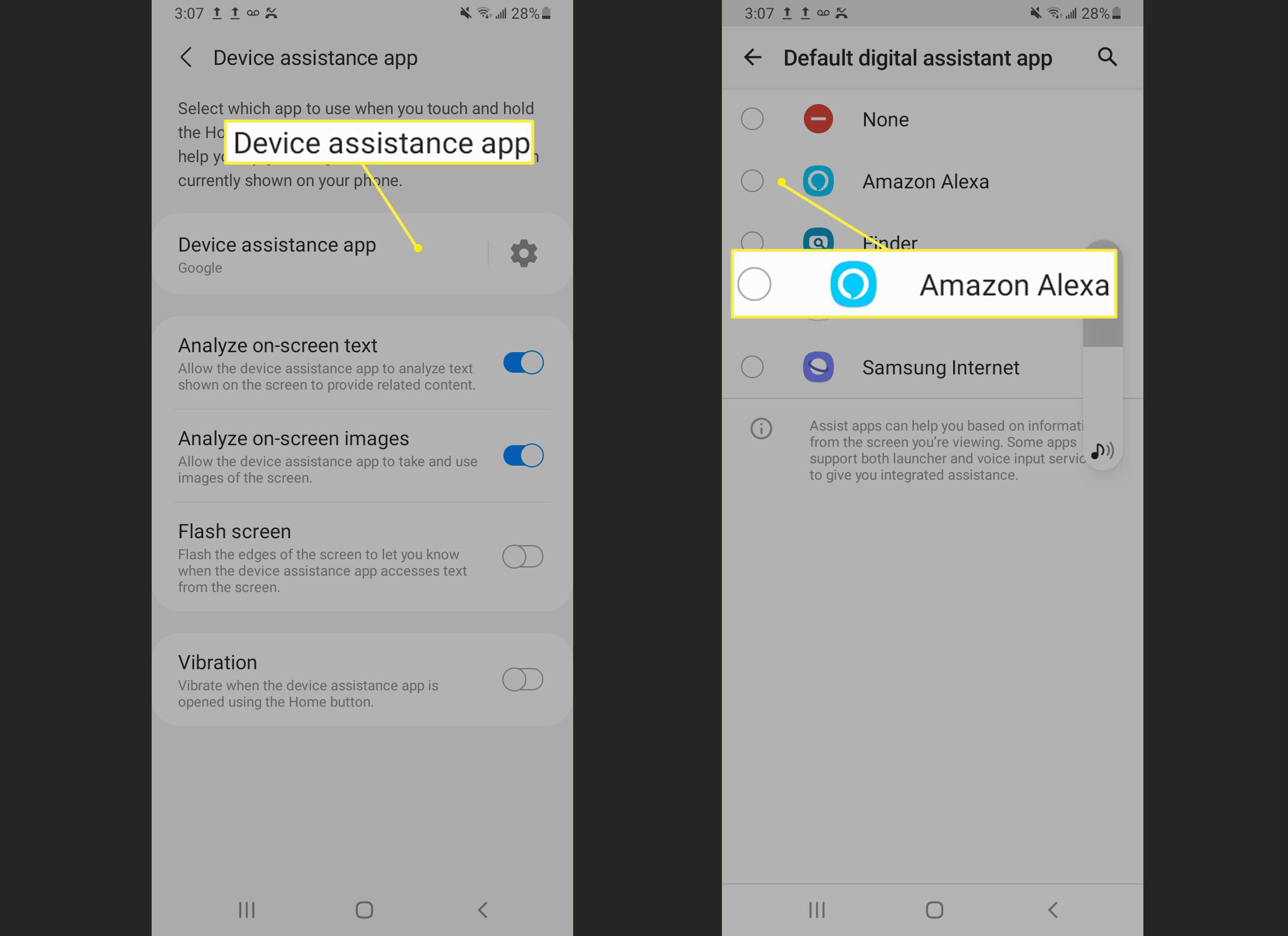Setting Alexa as default on Android