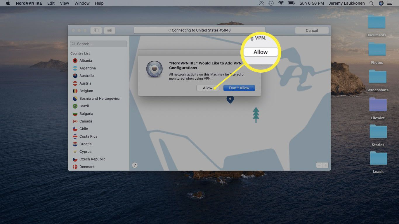A screenshot of allowing a VPN to work on a Mac.
