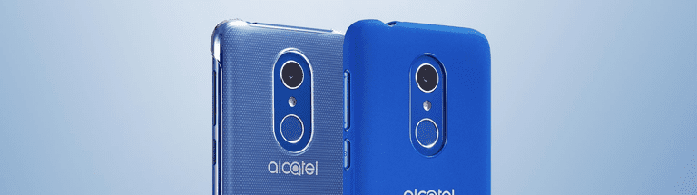 Two Alcatel 3 phones in two shades of blue side by side from the back