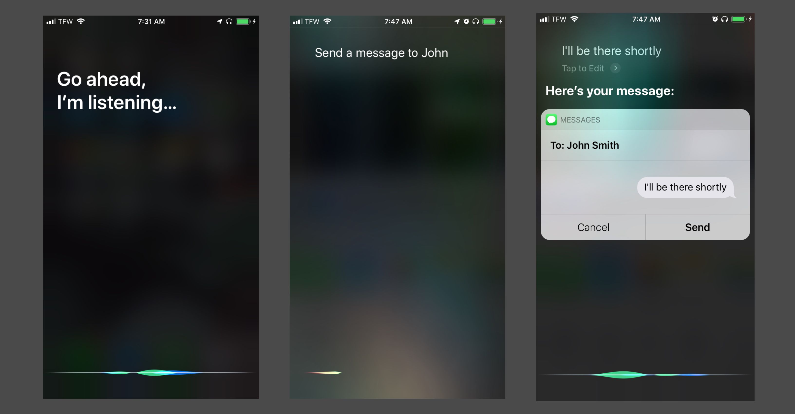 Using Siri and AirPods to send a text message