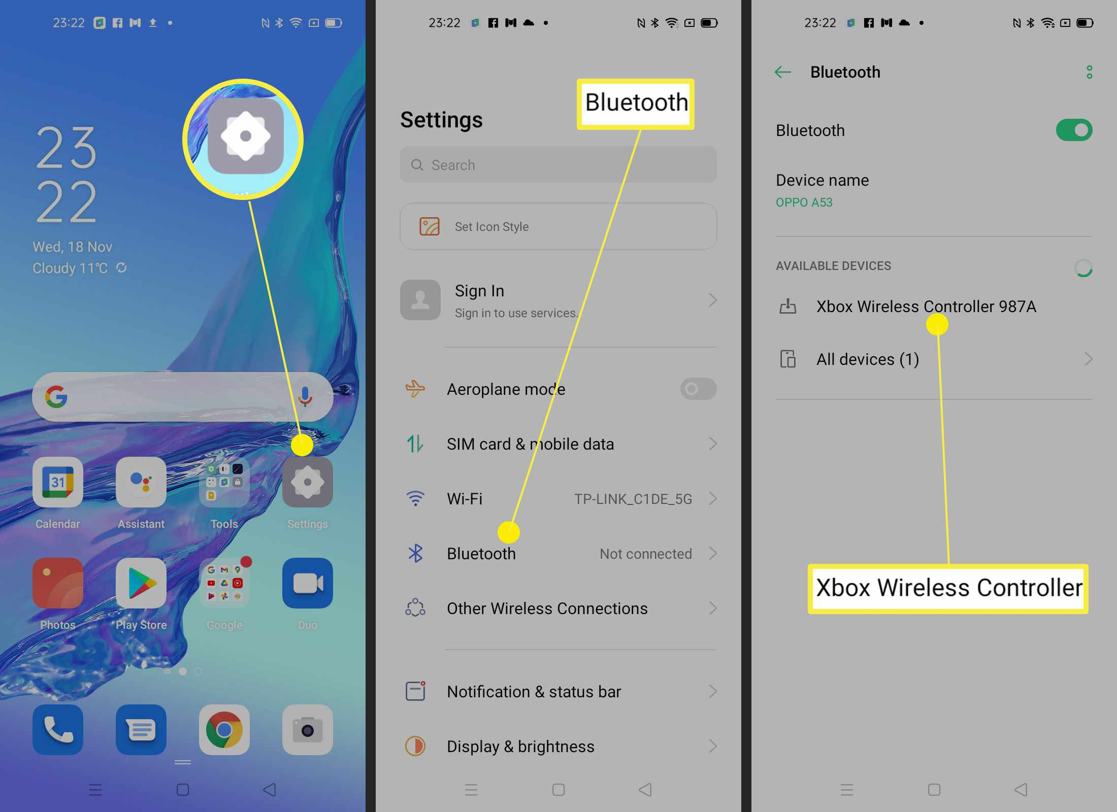 Steps involved to pair a controller with an Android phone via Bluetooth