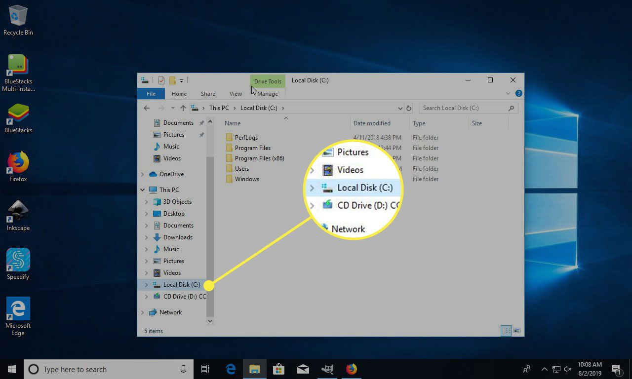 A screenshot of Windows with the C: Drive highlighted