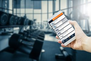 fubo tv on phone being used at a gym