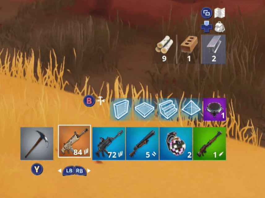 A screenshot of Fortnite showing weapons of different rarities.