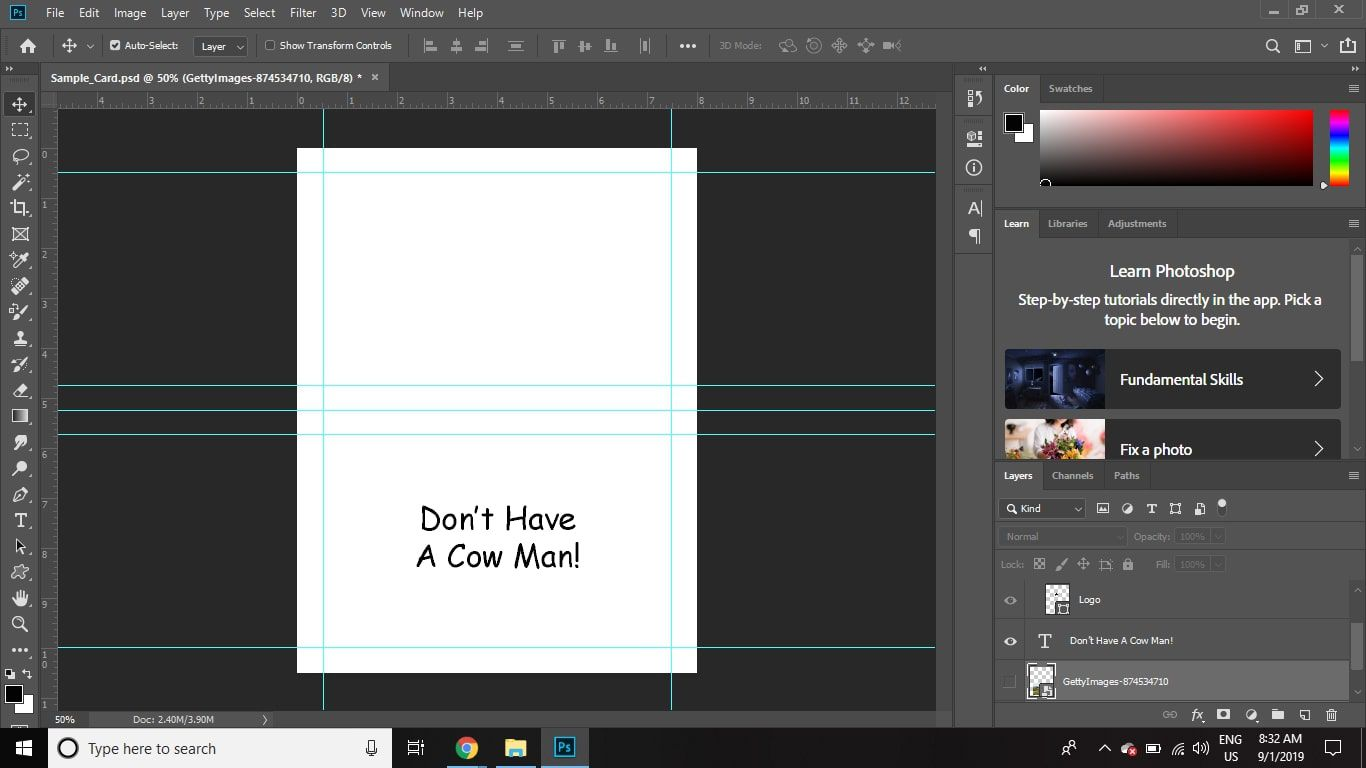 Turn on the visibility of the message layer, and then turn off the visibility of the image and logo layers.