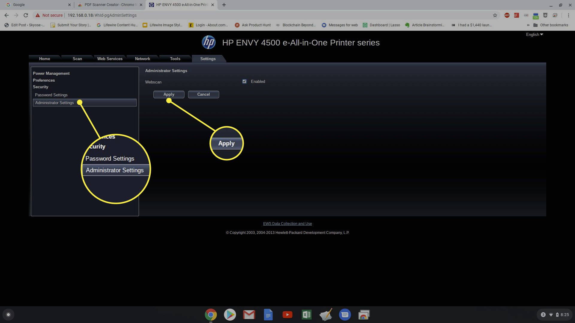 Screenshot of enabling Webscan on HP Printer