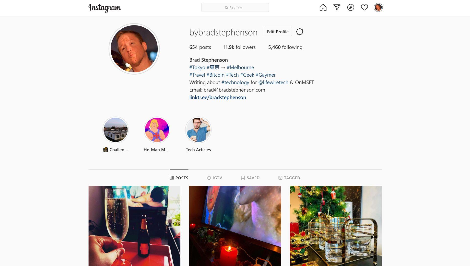 Instagram website.