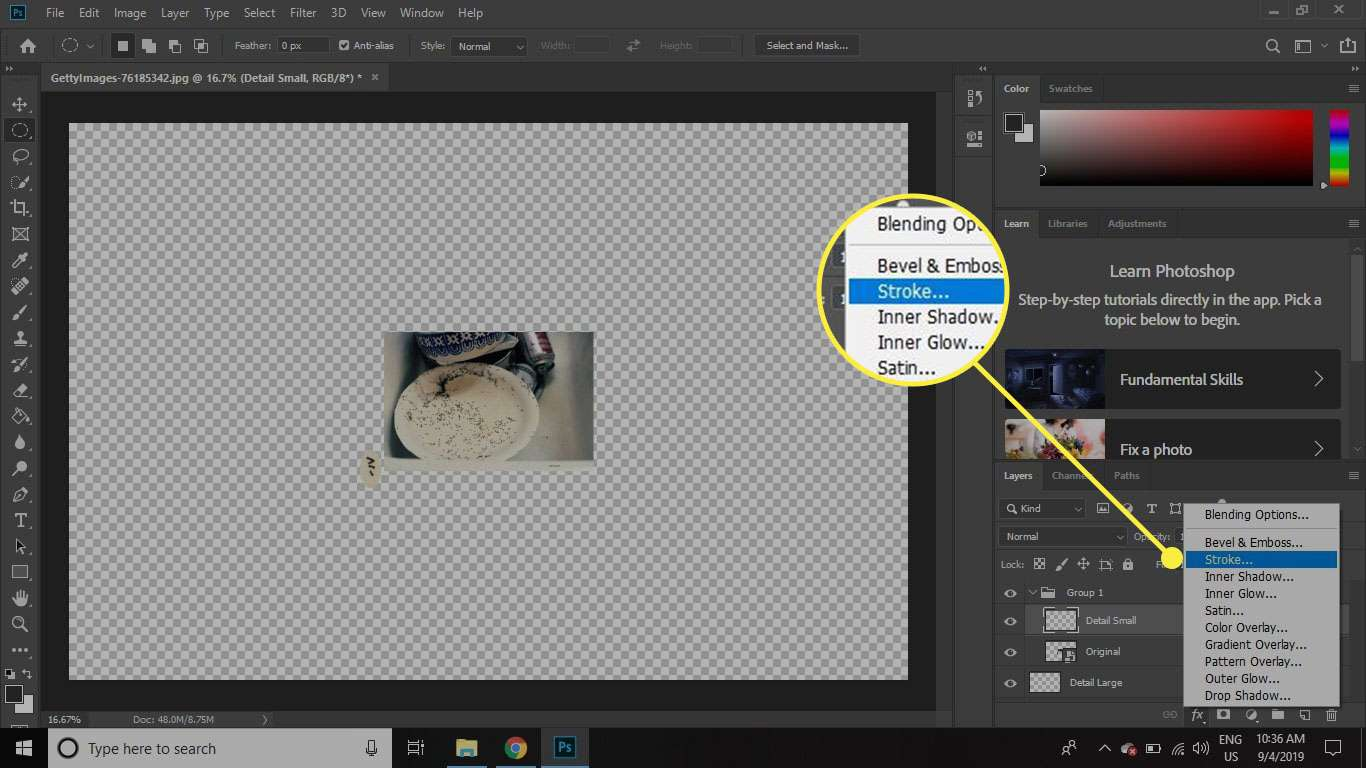 A screenshot of Photoshop with the Stroke command highlighted