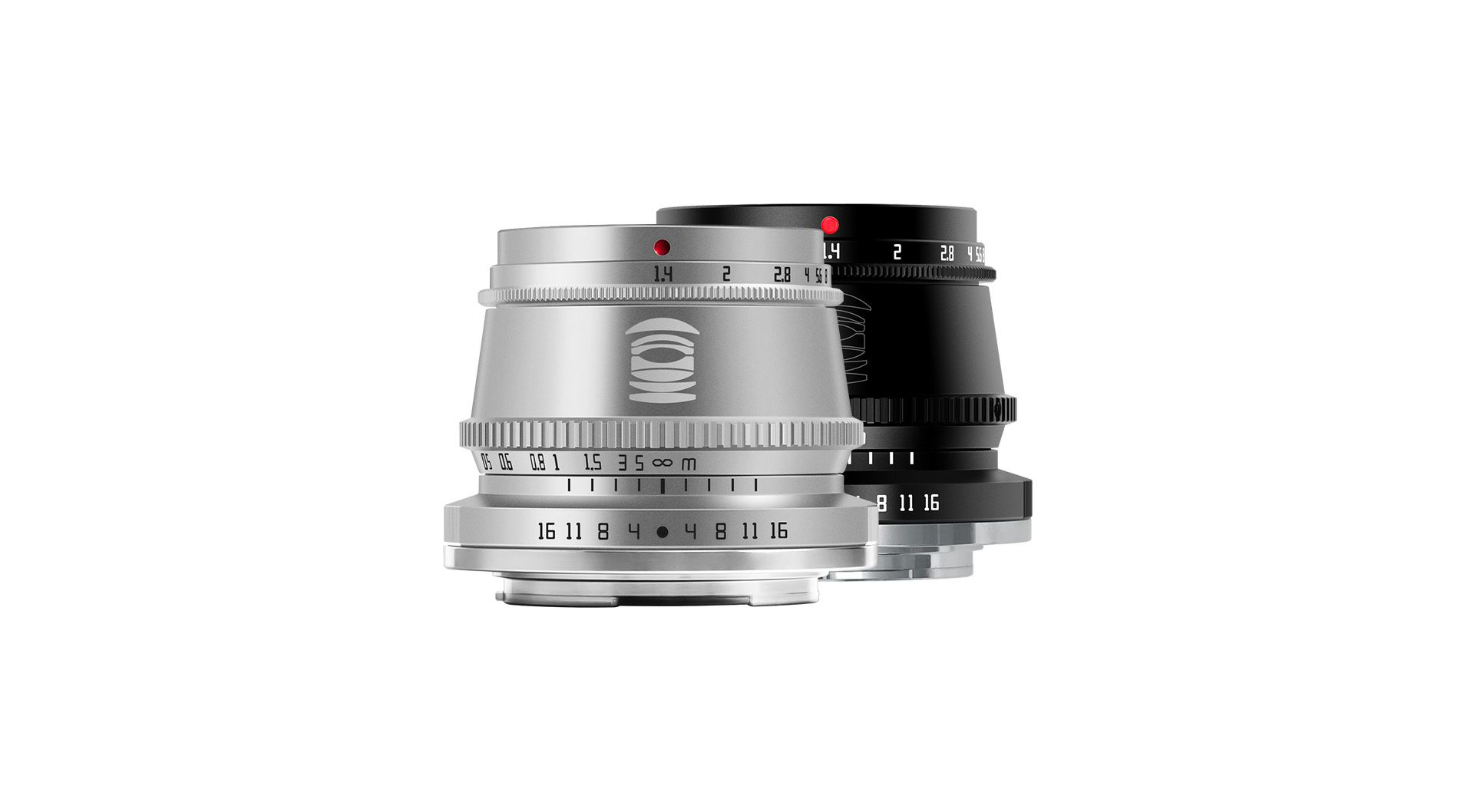 TTArtisan's APS-C 35mm F1.4 lens in black and silver on a white background