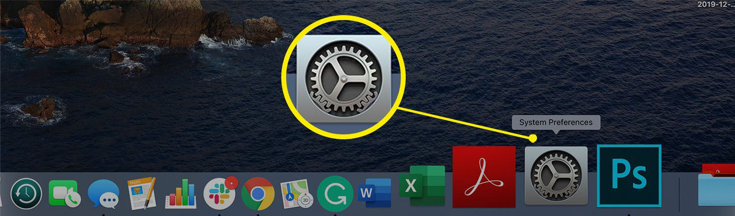 System Preferences icon in the Mac Dock