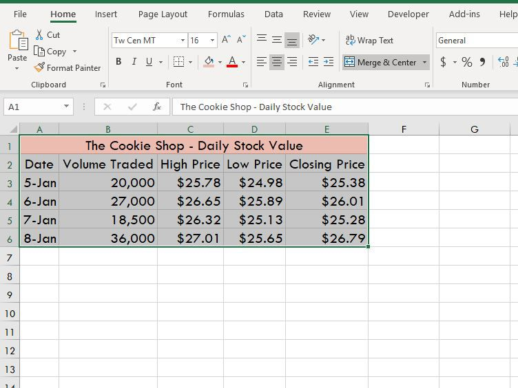 Make a High-Low-Close Stock Market Chart in Excel