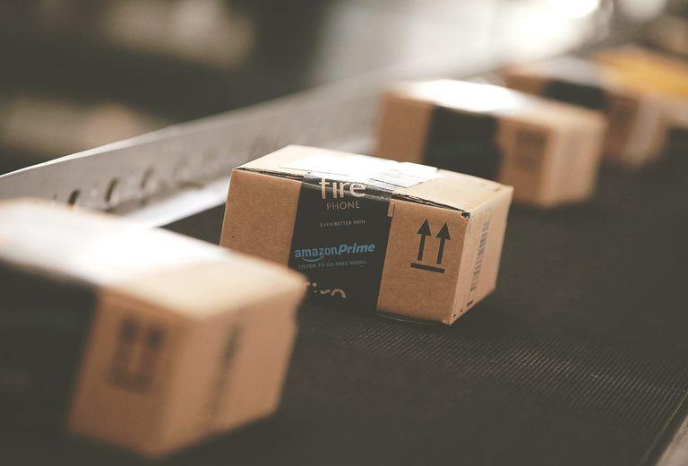 Amazon package on conveyer belt