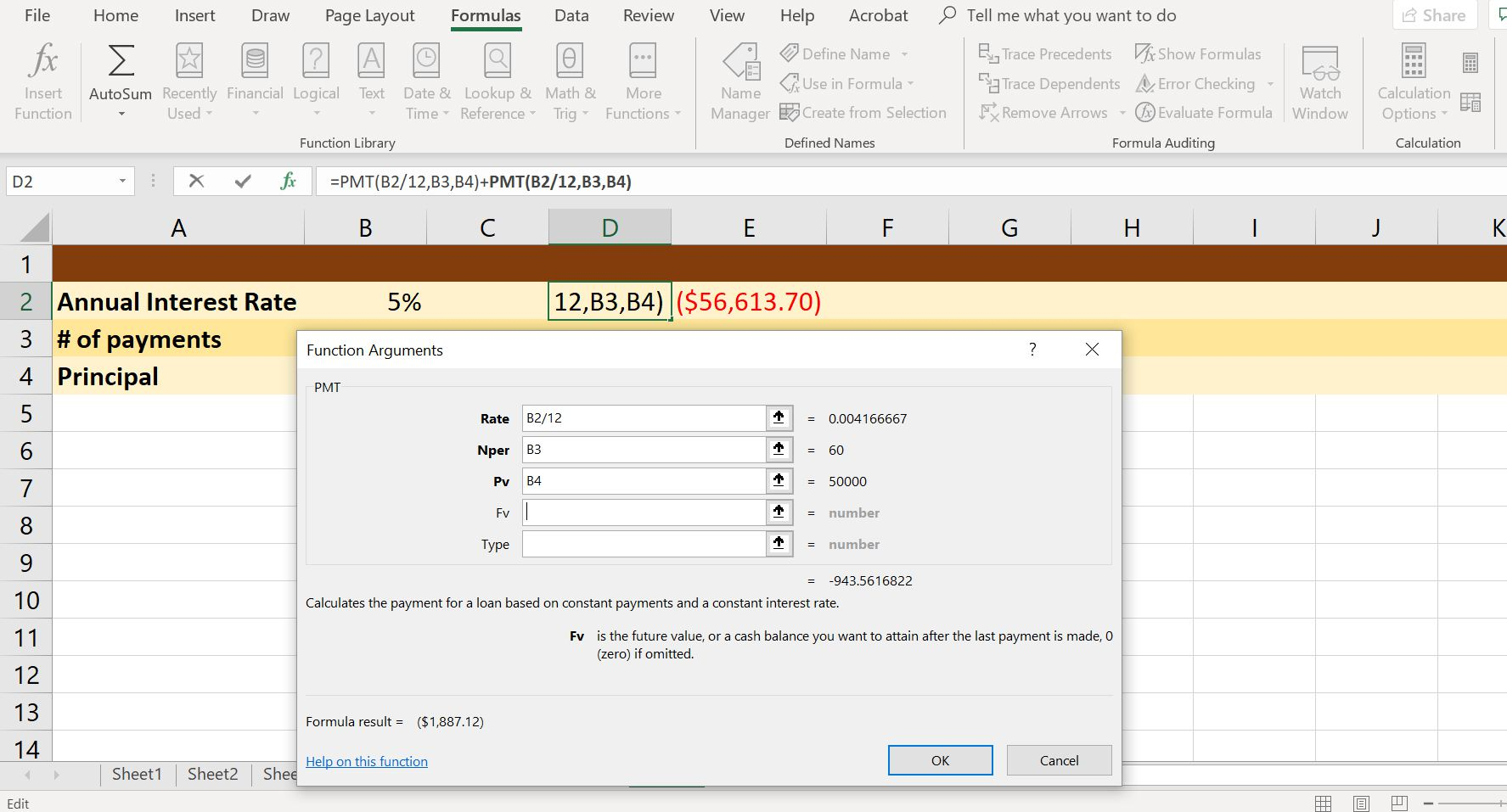A screenshot of Excel's PMT function dialog box.
