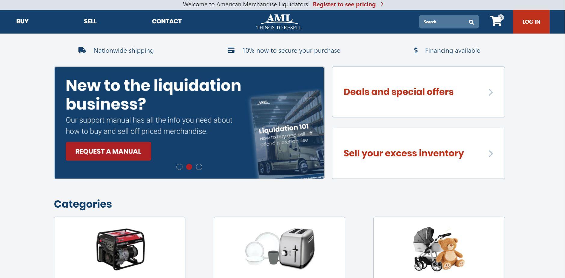 The American Merchandise Liquidators website