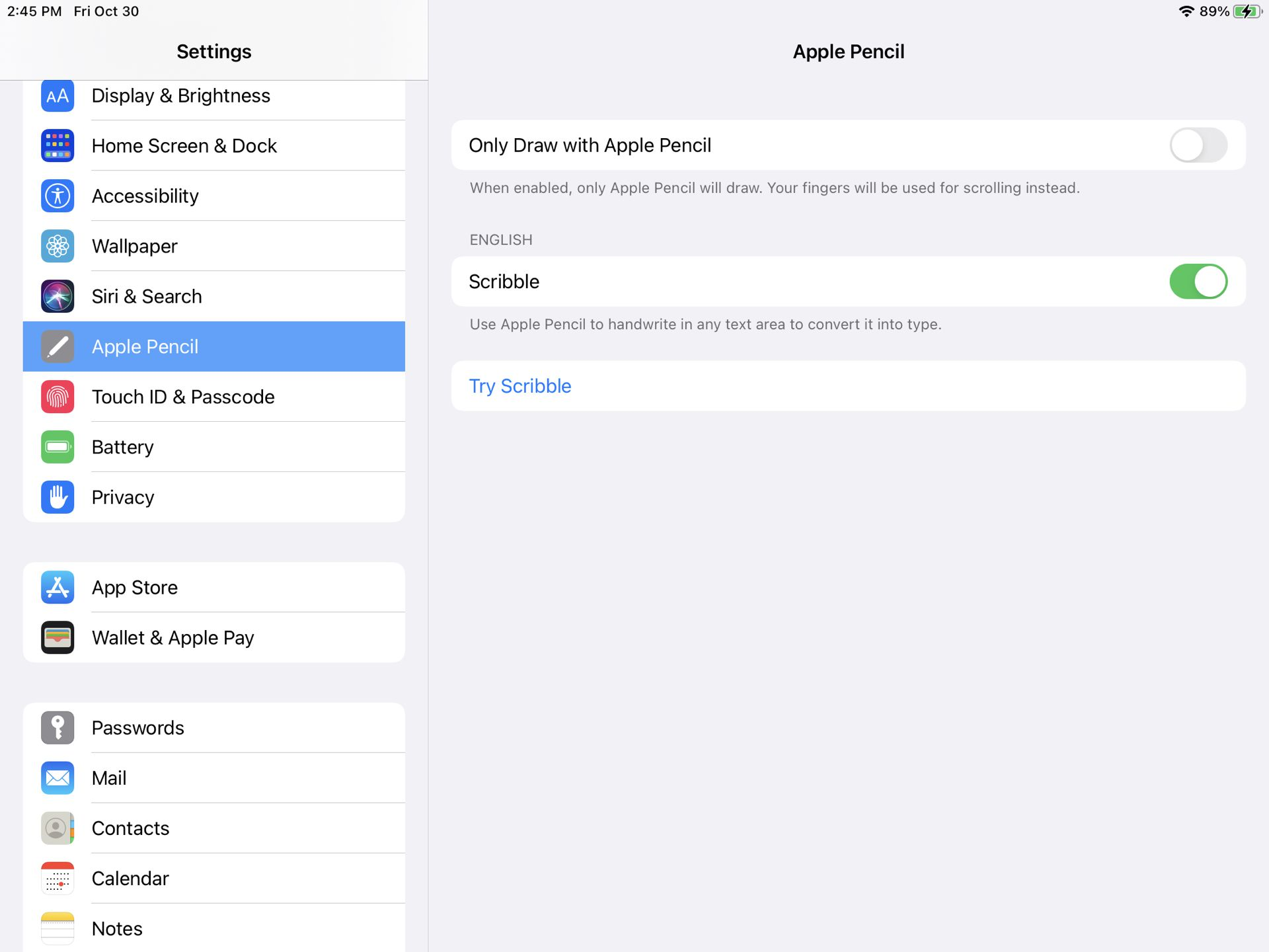 iPad Settings for Apple Pencil Scribble enabled