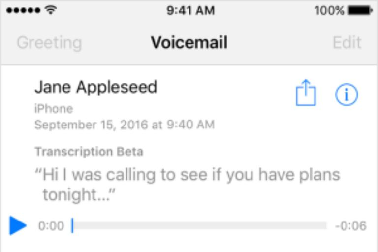 Visual Voicemail screenshot