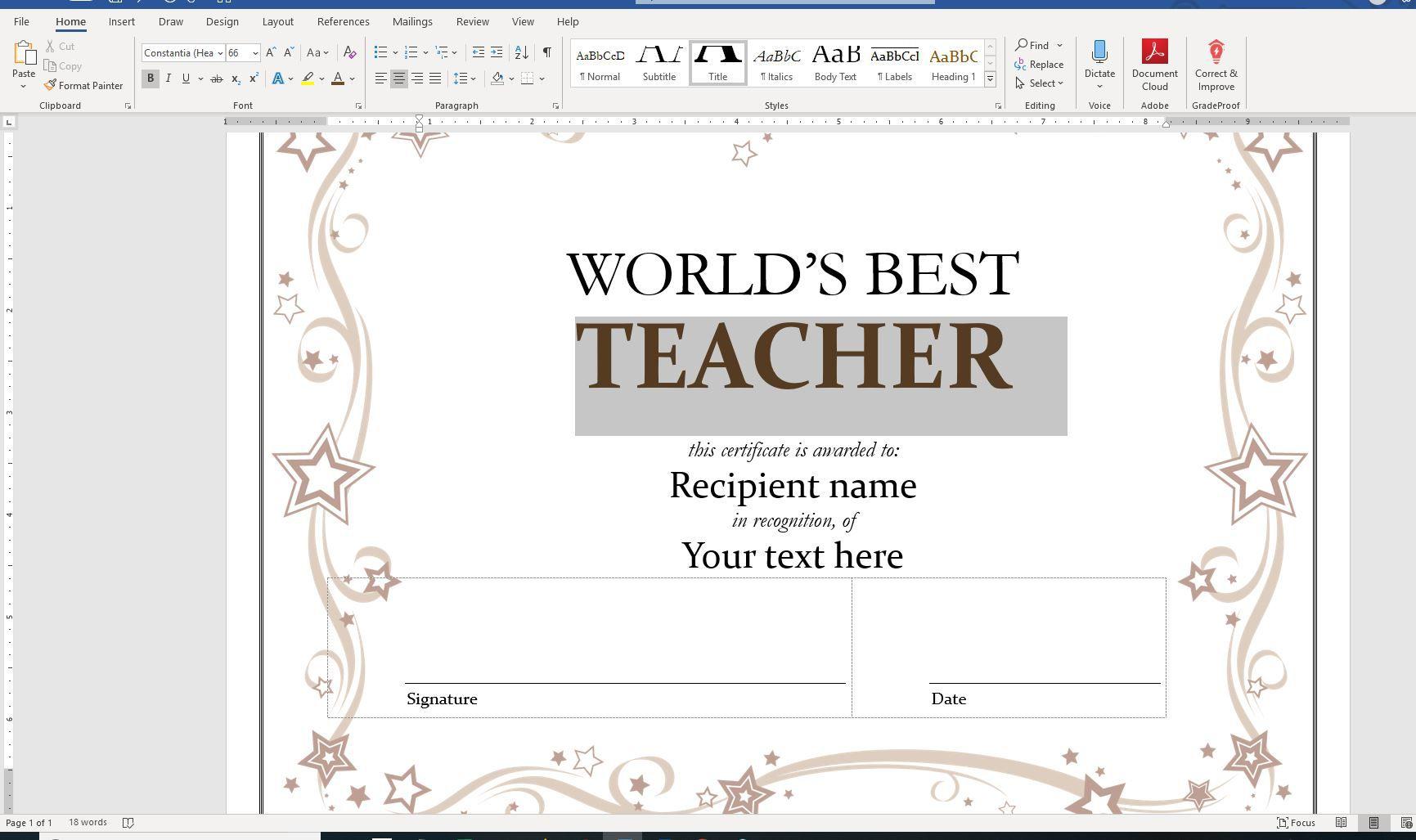 Screenshot of custom text in Word certificate template