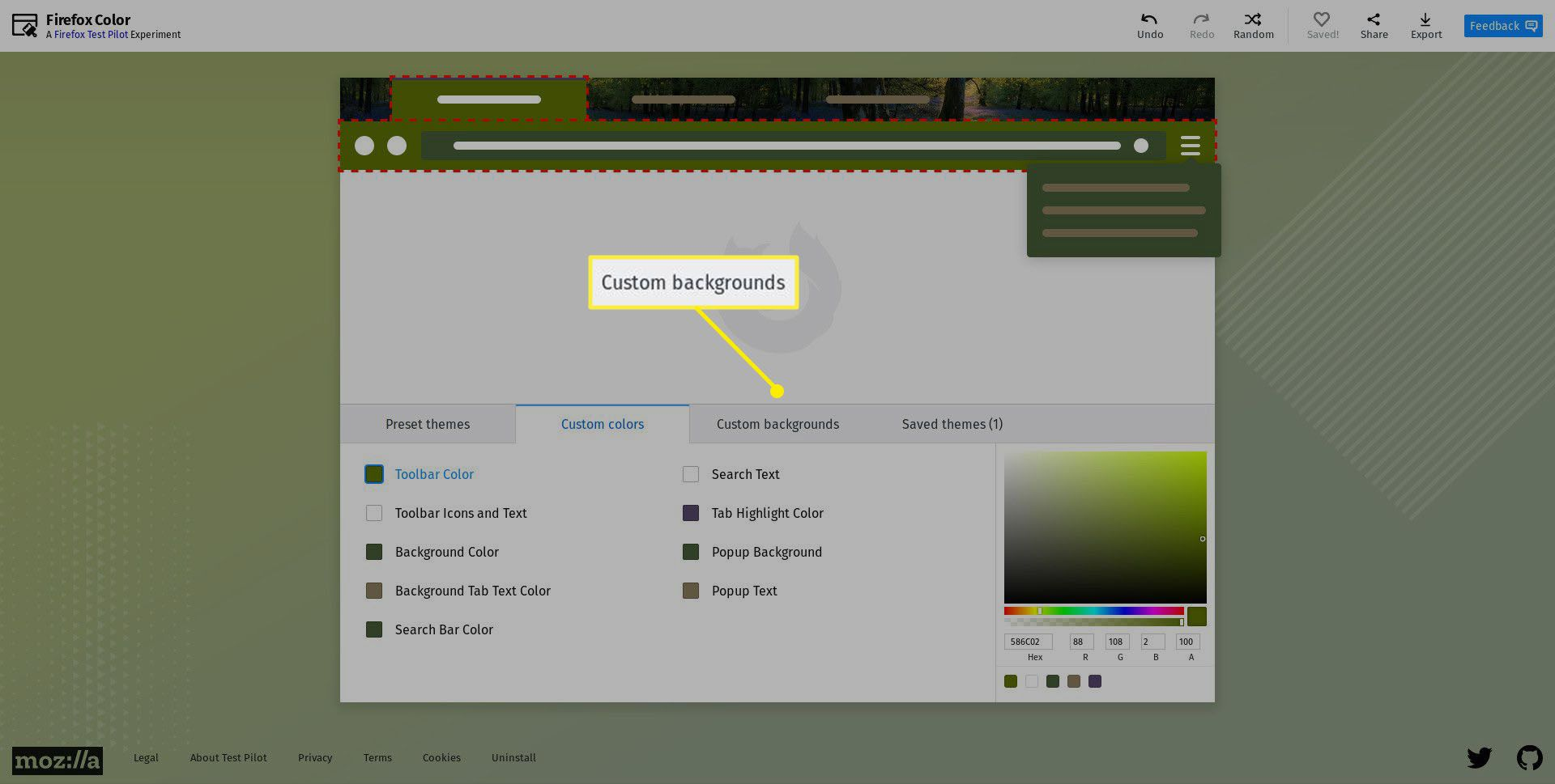 Selecting custom backgrounds.