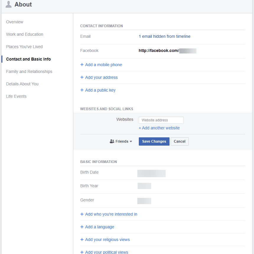 Facebook About page in edit mode.