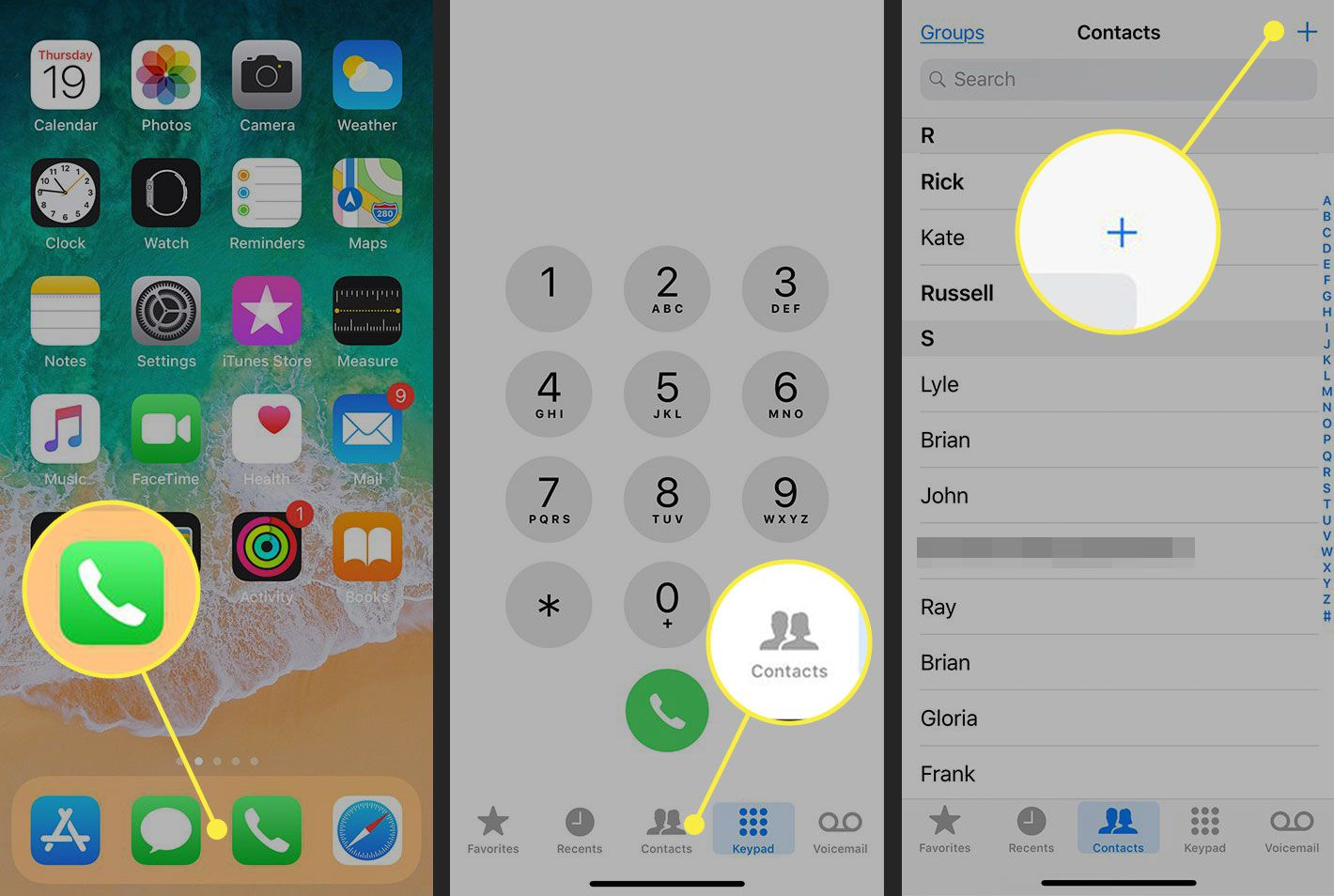 Screenshots of an iPhone with the Phone app, Contacts tab, and New Contact button highlighted