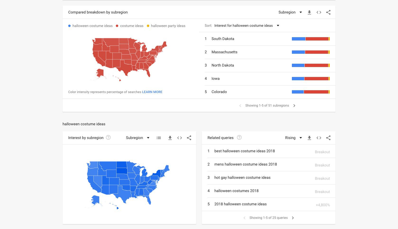 A screenshot of search trends by region on Google Trends.