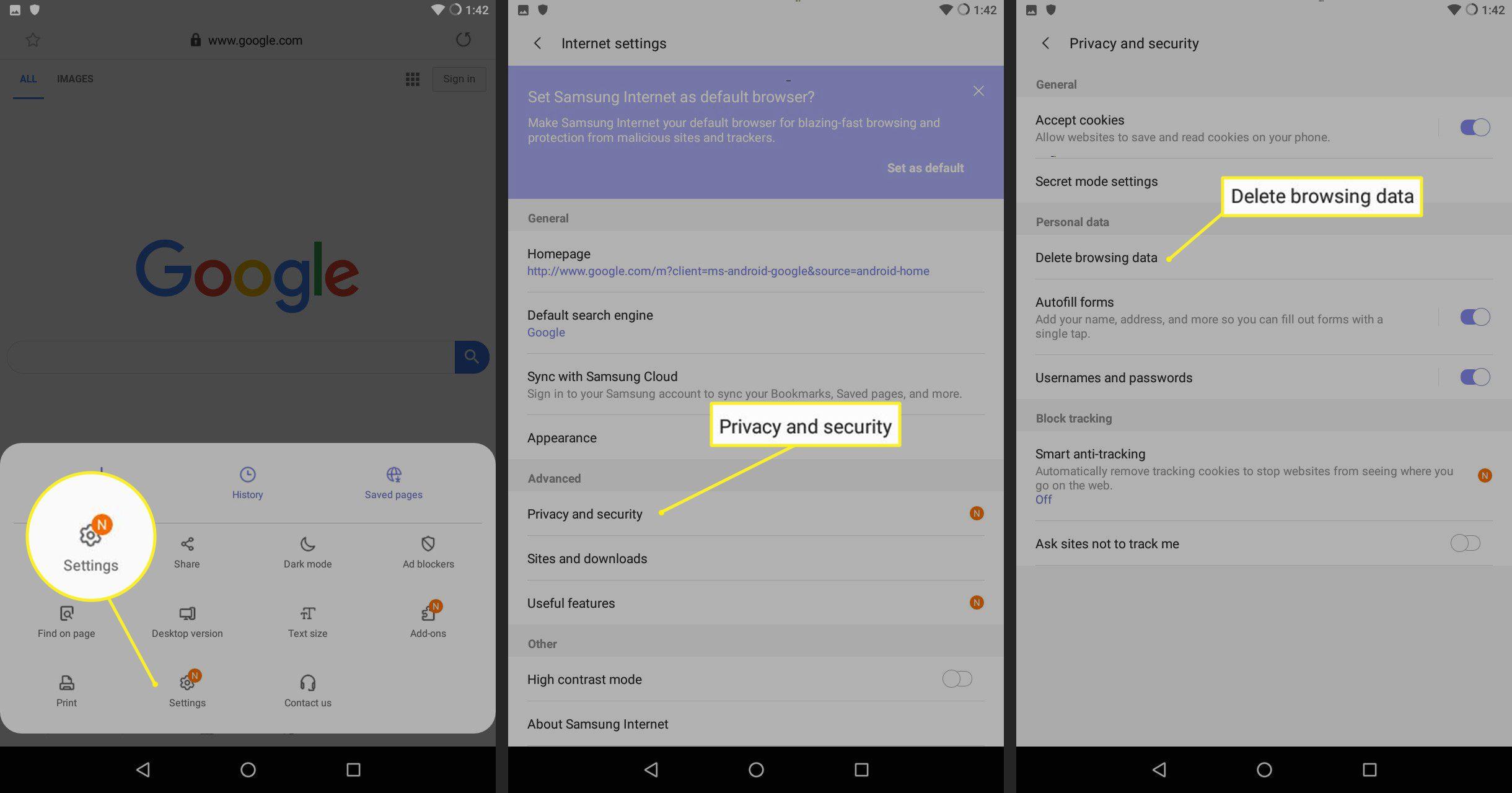 Delete browsing data on Samsung