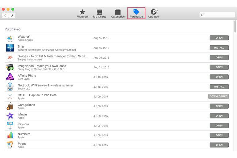 Mac App store purchase tab