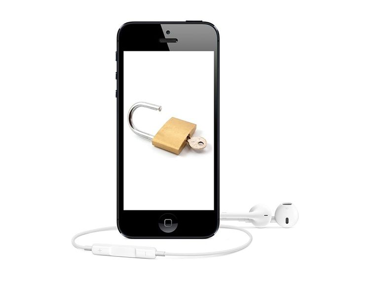 iPhone with picture of a padlock on its screen